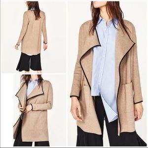 Zara Leather Trim Cardigan